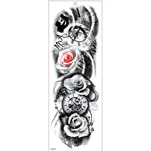 4Pcs Wasserdicht Temporäre Tattoos Fake Tattoos Uhr Rose Blume Buddha Schönheit Body Art Tattoo Aufkleber Schwarz Transfer Tattoos Für Arme Schultern Brust Rücken Beine Für Strand Fasching Party