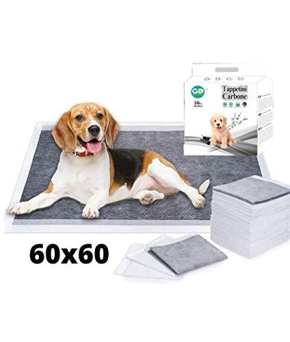 Sesamall Tappetini Igienici Assorbenti Monouso Antiodore al Carbone Attivo 60x60 Set 100 Pezzi per Cani Taglia Piccola Media Grande