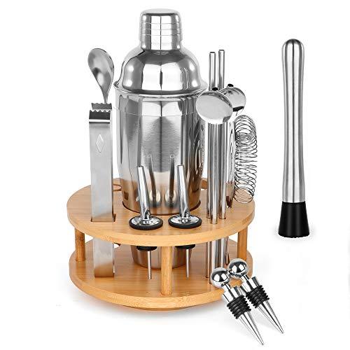 360 ° Drehbares Cocktail Shaker Set, 17 Stück Edelstahl Cocktailshaker Weihnachten Geschenk für Männer