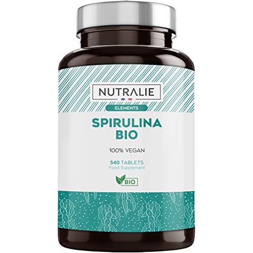 Spirulina Biologica 3000mg per Dose | Integratore Premium Detox con Spirulina BIO Organica 60% in Proteine e 19% di Ficocianina | 540 Compresse Nutralie