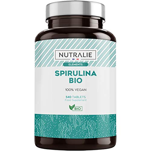 Spiruline BIO 3000mg 540 Comprimés | 60% Protéines, 19% Phycocyanine et Chlorophylle Sans Additifs | Poudre Séchée et Compressée à Froid Nutralie