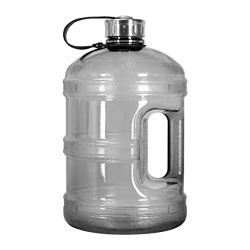 3 Liter BPA Free Reusable Plastic Drinking Water Bottle Jug Container w//Hand Holder Canteen and Stainless Steel Cap