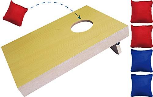 made2trade Traditionelles Wurfspiel Beanbag mit Säcken und Holzspielbrett