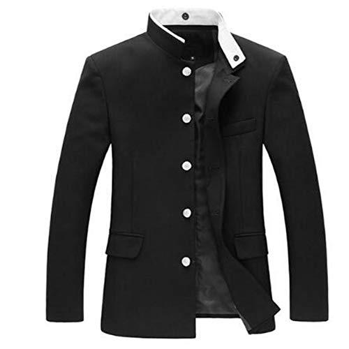 Men Black Slim Tunic Jacket Single Breasted Blazer Japanese School Uniform Gakuran College Coat-1-L