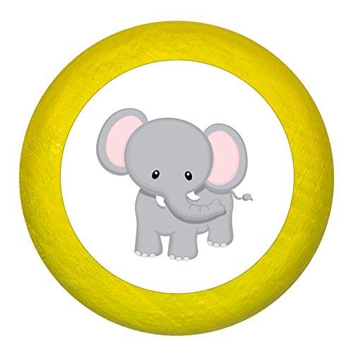 """Kommodengriff""""Elefant"""" gelb Holz Buche Kinder Kinderzimmer 1 Stück wilde Tiere Zootiere Dschungeltiere Traum Kind"""