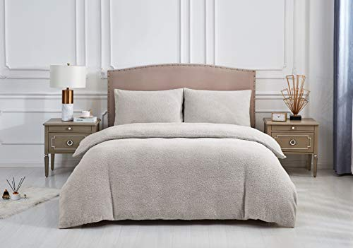 adam & eesa Teddy Premium Quality Fleece Duvet Cover with Pillowcases - Thermal Fluffy Warm and Durable Quality Soft Winter Bedding, Silver Single Duvet Set
