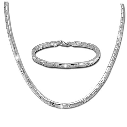 SilberDream Collier & Armband Zirkonia Damen Schmuckset Sterling Silber SDS451W