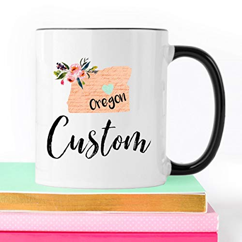 Taza personalizada de Oregon, regalo de Oregon, regalo de historia, regalo de amigos, taza de café de Oregon, hogar dulce hogar, taza de estado