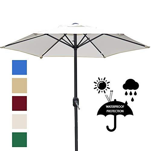 ZDYLM-Y Parasol de Jardin Exterieur avec Bouton Poussoir inclinable et manivelle, 8 parasols de Jardin Robustes à Nervures (Base Non Incluse),Blanc