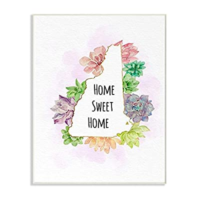 The Stupell Home Decor Collection New Hampshire State Home Sweet Home Succulent