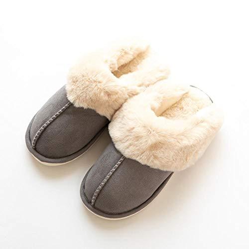 KIKIGO Zapatillas de Estar por casa Hombre,Zapatos caseros de Invierno Antideslizantes para Hombres, Pantuflas cálidas y esponjosas de Suela Gruesa.-Gris Claro_EU 44