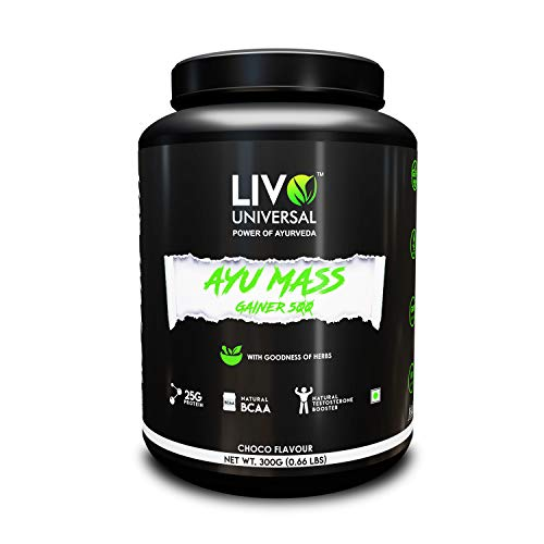 Livo Universal Ayurvedic Weight Gainer 500 Supplement (300 Grams / 15 days Serving) - 100% Natural Post Workout Powder with Ashwagandha, Giloy, Shatavar, Amla, Kaunch Beej, Gokhru Extract