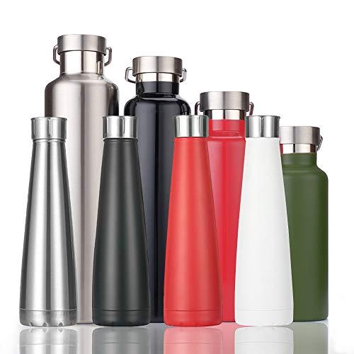 KAILH Vakuum Isolierte Edelstahl Trinkflasche, BPA Frei Wasserflasche Auslaufsicher, 500/600/750/1000ml Thermosflasche für Sport, Yoga, Outdoor, Büro, Kinder, Schule, Hochwertigem Isolierflasche