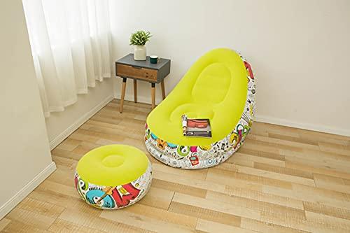 Aufblasbares Lazy Sofa, Family Lounge Chair mit aufblasbarem Fußkissen, aufblasbare Couch für Erwachsene Lazy Bag, für Indoor Outdoor Camping Garden (Yellow)
