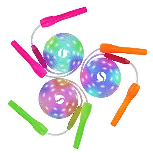 Springseil Kinder, Sooair 3 Pcs Glowing Springseil, LED Light Up Springseile, LED Licht Seilspringen Länge Verstellbar Glühendes für Kinder Erwachsene Party, Gewichtsverlust, Fitness (Farbe)