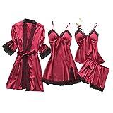 Lazzboy Dessous Frauen Silk Lace Babydoll Nachtwäsche Nachthemd Pyjamas Set Kimono Damen Morgenmantel Satin Bademantel Seide Roben V Ausschnitt Mit Blumenspitze(Rot,2XL)