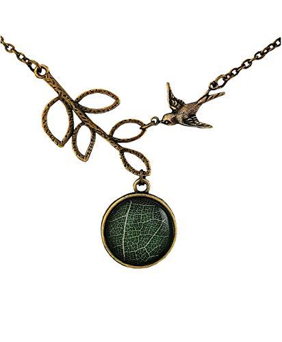Echtes Blatt Kette - Frühlingserwachen - Kettenanhänger - Schmuckanhänger - Geburtstag - Kurzkette - Halskette - Vintage - Geschenke für Sie - Schmuck Geschenk - Handmade Geschenk