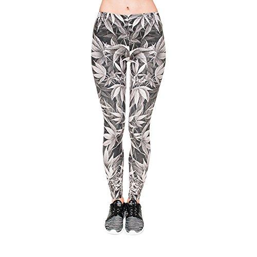 Hanessa Frauen Leggins Bedruckte Leggings Geschenk zu Weihnachten Hose Frühling Sommer Kleidung Gras Weed Dope Marihuana Schwarz Weiß L77