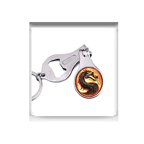 bab Drachen Halsketten Mortal Kombat Anhänger Glaskuppel Schmuck Leuchtende Nagelschneider Nagelschere