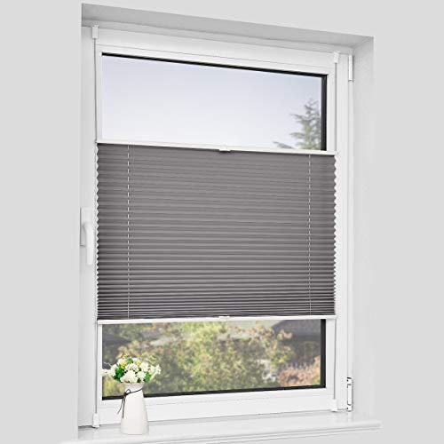 Sanfree - Estor plisado para ventana (fijación sin agujeros, protección solar y privacidad), antracita, 35x100cm