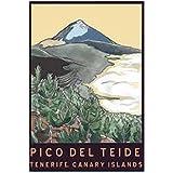 IUYBHRYI Pico del Teide Tenerife Islas Canarias Tour panorámico Islas Canarias Póster Decorativo Vintage Lienzo de Pared Decoración para el hogar-50x75cm Sin Marco