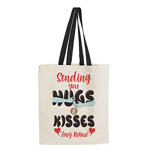 Personalised Mother's Day Sending You Hugs and Kisses ANY NAME Birthday present Shopping Shoppers Tote Bag (Black Handle)