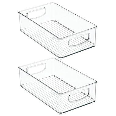 InterDesign Home Kitchen Organizer Bin for Pantry, Refrigerator, Freezer & Storage Cabinet, Set of 2, 10-Inch by 6-Inch by 3-Inch, Clear