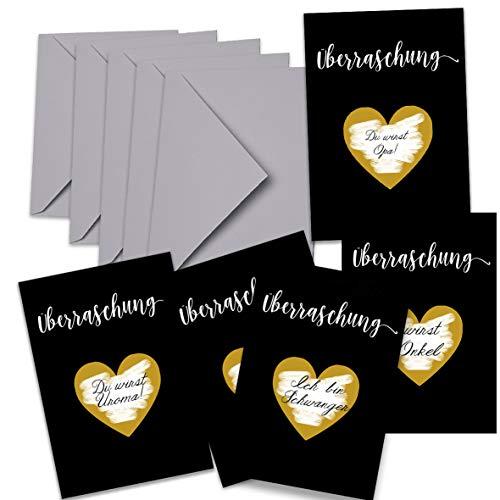 Happy Wedding Art 5 Rubbelkarte Geschenk Gutschein Überraschung Karte Gastgeschenke Schwanger Hochzeit Trauzeuge Du Wirst Papa,Oma, Opa Wir sind Schwanger Schwarz