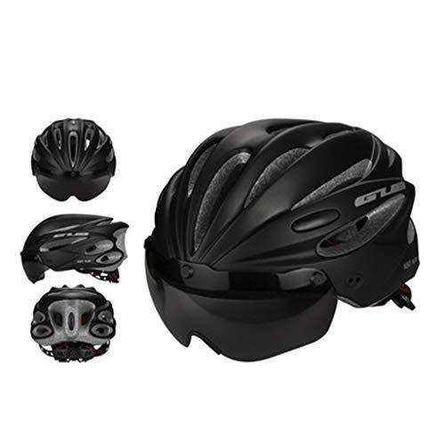 JM- Erwachsener Reithelm Mountain Road Fahrrad Sicherheitsschutz ultraleichter Helm integrierte Magnetbrille (Color : B)