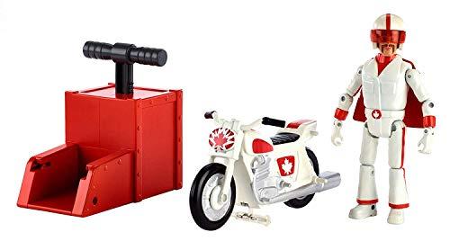 Toy Story Disney Pixar Duke Caboom Racer Acrobatico con Moto e Lanciatore, Personaggio Snodato con Moto Inclusa, per Bambini da 3+ Anni, GFB55