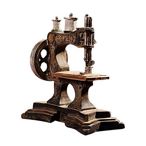 LINVINC Adornos Retro - Antiguo Vintage Retro Resina Adornos para Máquinas de Coser Casa Mesa Oficina Cafe, Estilo 3, 19 * 18.2 * 7cm