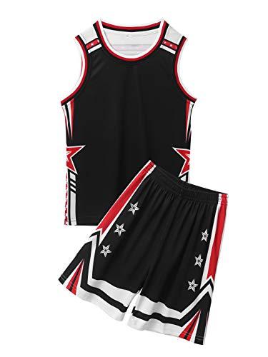 Aislor Basketball Trainingsanzug Set Kinder Unisex Basketball Fußball Trikot Atmungsaktiv Shirt mit Shorts Loose Fit Sportanzug Zweiteiler Schwarz 110-116