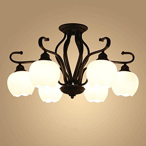 WDX- Amerikaanse landelijke stijl plafondlamp ronde woonkamer licht gezellige slaapkamer licht smeedijzeren plafondlamp glazen scherm energie besparen