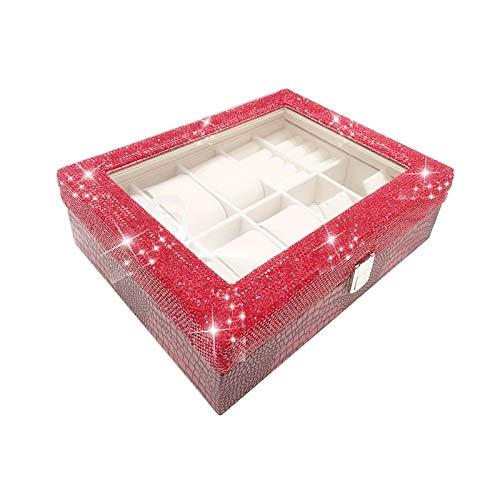 WNN - Caja de joyería URG con tapa estilo vintage, caja de almacenamiento con múltiples celdas de cristal a prueba de polvo, adecuada para pendientes, collares, anillos y pulseras, caja de regalo URG