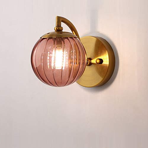 OMGPFR LED wandlamp, pastorale rustieke wandlampen binnen nachtkastje lamp glas lampenkap schaduw industriële verlichting voor slaapkamer gang wandlamp