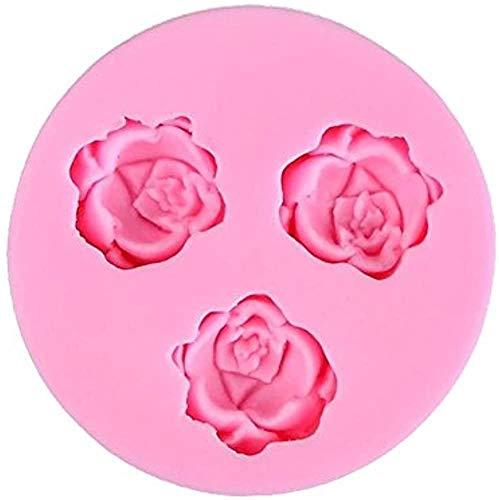 LUTIORE Molde de pastel de fondant 3D mini rosa flor en forma de molde de silicona DIY hornear azúcar arte pastel chocolate caramelo decoración herramienta de cocina
