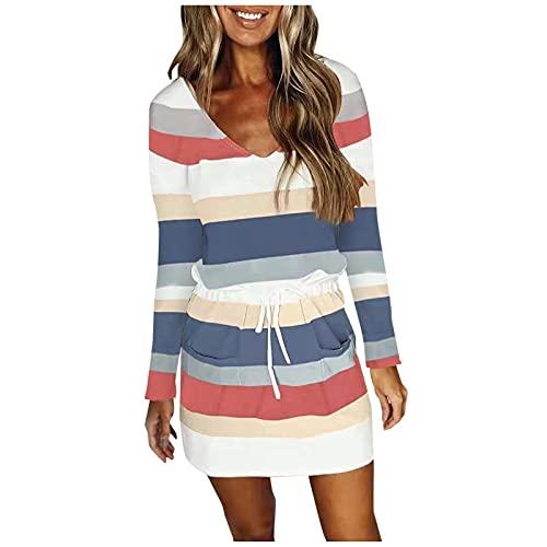 WXZZ Vestido de mujer con cuello en V y manga larga, para primavera y otoño, estilo bohemio, estampado a rayas, con cordón, para el tiempo libre, para la playa azul XL
