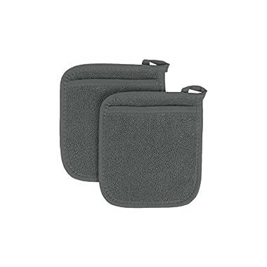 Ritz Royale Collection 100% Cotton Terry Cloth Pocket Mitt Set, Dual-Function Hot Pad / Pot Holder, 2-Piece, Graphite