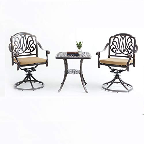 KEKOR 3-Piece Outdoor Rust-Resistant Cast Aluminum Patio Bistro Set Outdoor Furniture With Swivel Chair & Cushions Table Sets -Bronze