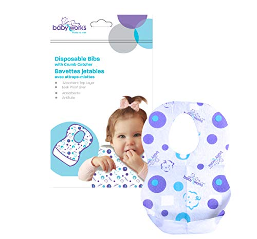 Disposable Baby Bibs | with Crumb Catcher | Adjustable Size for Babies and Toddlers | Waterproof for Leak-Proof Protection | Quilted and Comfortable | Perfect for Travel | 12 Count