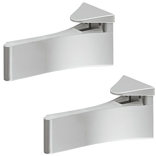 Gedotec Design Glas-Bodenträger Wandkonsole Modell H8090 aus Metall | Regalboden-Träger mit Tragkraft 50 kg | Tablardicke 6-30 mm | Regalträger silber eloxiert | Möbelbeschläge | 2 Stück