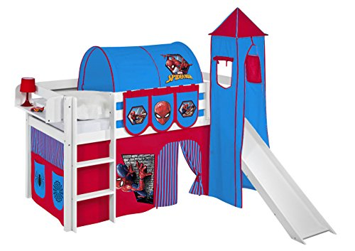 Spielbett JELLE Spiderman - Hochbett LILOKIDS - weiß - mit Turm, Rutsche und Vorhang