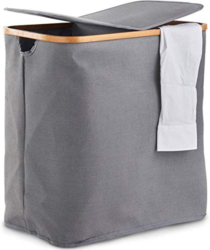 LHYLHY 2 Compartment Laundry Basket – with Double Sided Lid Oxford Fabric & On-Trend Grey Colourways