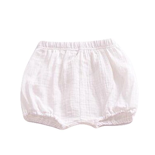LOOLY Baby Bloomers Unisex Baby Girls Boys Cotton Linen Blend Shorts (90, White)