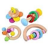 Holz-Geklapper for Baby, Kleinkind Holzhandbell Bunte BPA frei Hand Held Rattle Ton Spielzeug pädagogisches Spielzeug Set von 4 Stück zcaqtajro