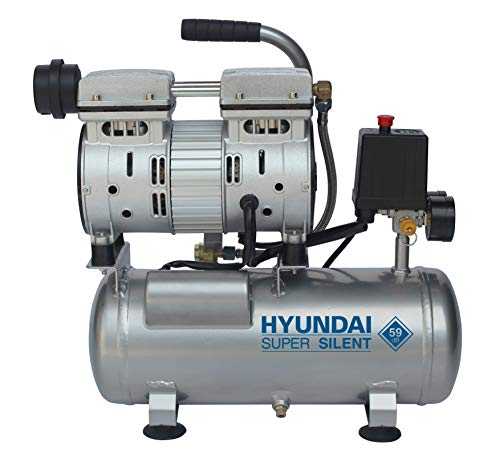 HYUNDAI Silent Kompressor SAC55751 (tragbarer Druckluftkompressor, ÖLFREI, Flüsterkompressor mit 59 dB(A), 6 L Druckbehälter, 8 bar, 550 W / 0.75 HP, Ansaugleistung 93 L/Min)