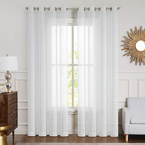 """Central Park White Sheer Curtain Metallic Sparkling Decorative Window Treatment 2 Panels Linen Texture for Living Room and Bedroom Drapes with Grommets Bliss Rustic Farmhouse Curtains, 54"""" x 84""""x 2"""