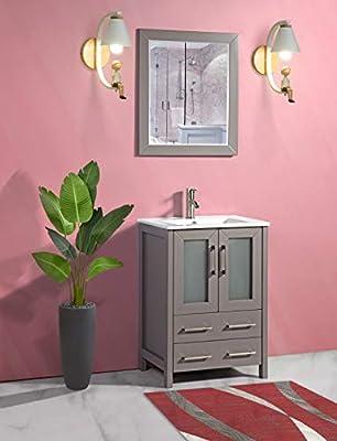 Vanity Art 24 Inch Single Sink Bathroom Vanity Compact Set 2 Large Folding Doors 1 Shelf 2 Drawers Ceramic Top Bathroom Cabinet with Free Mirror VA3024-G