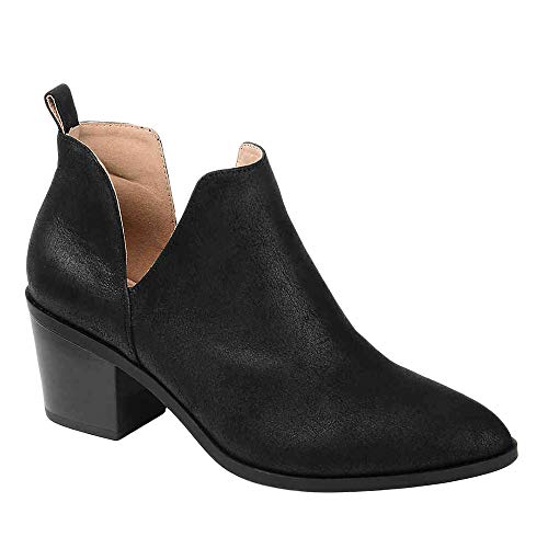 Erneut Damen Western Stiefeletten Spitzen Zehen Cut Out Gestapelten Fersen Beunruhigten Leder Tierdrucken Slip On Ankle Boots