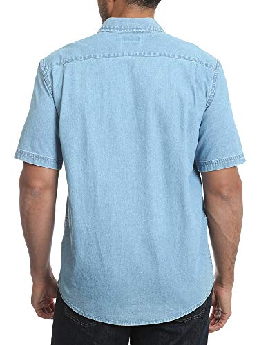 Men's Short Sleeve Stretch Button Down Shirt ( Light Wash Denim) 5